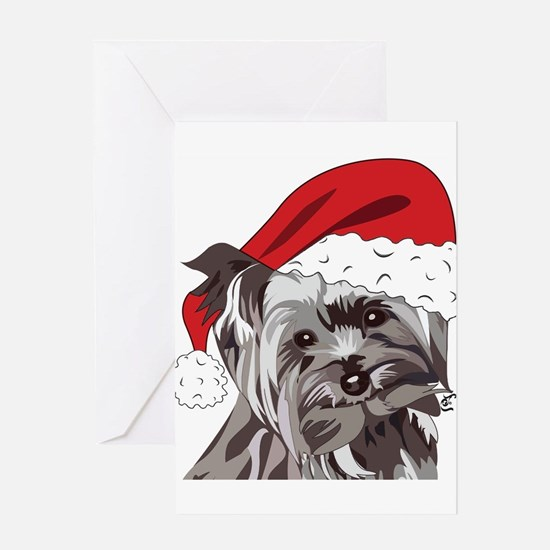 Cute Yorkie Christmas Puppy Greeting Cards