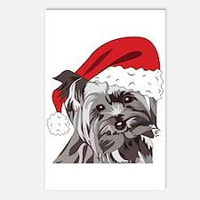 Cute Yorkie Christmas Postcards (package Of 8)