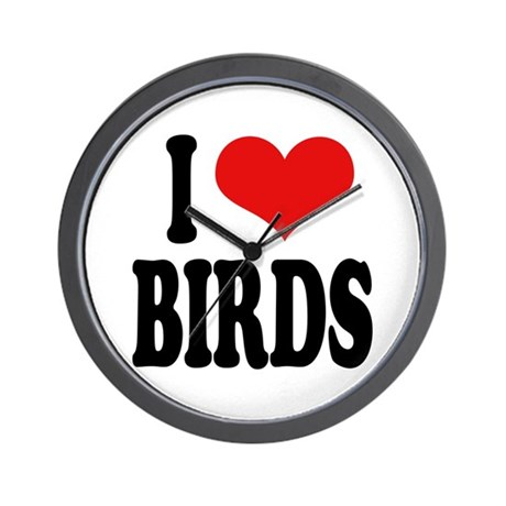 I Love Birds Wall Clock