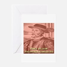 Ponce de Leon Discovered Flor Greeting Cards (Pack