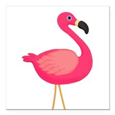 "Pink Flamingo Square Car Magnet 3"" x 3"""