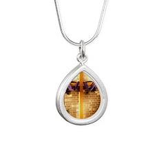 bible cross Silver Teardrop Necklace