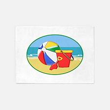 Beach Ball Pail and Shovel 5'x7'Area Rug