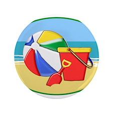 "Beach Ball Pail and Shovel 3.5"" Button"