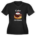 Cake Artiste Women's Plus Size V-Neck Dark T-Shirt