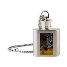 Zebra mother and baby Flask Necklace