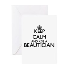 Keep calm and kiss a Beautician Greeting Cards