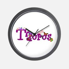 Taurus Flowers Wall Clock