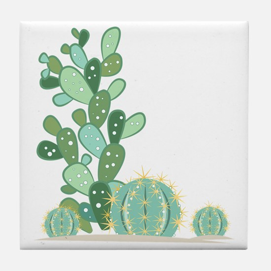 Cactus Plants Tile Coaster