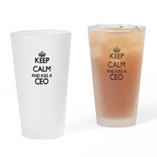 Keep calm and kiss a Ceo Drinking Glass