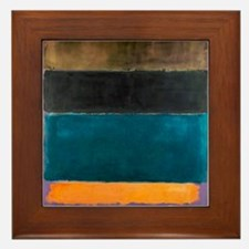 ROTHKO TEAL BROWN BLACK ORANGE Framed Tile
