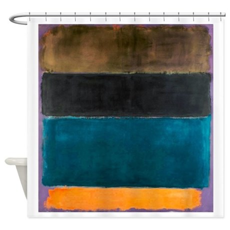 ROTHKO TEAL BROWN BLACK ORANGE Shower Curtain By ThingsCollectable