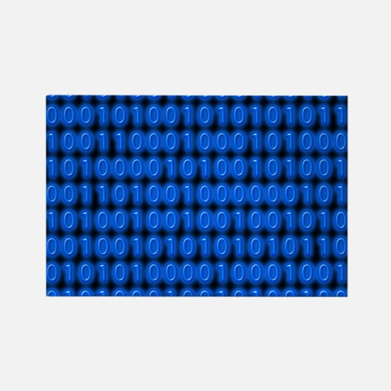 Blue Binary Code on Black Magnets