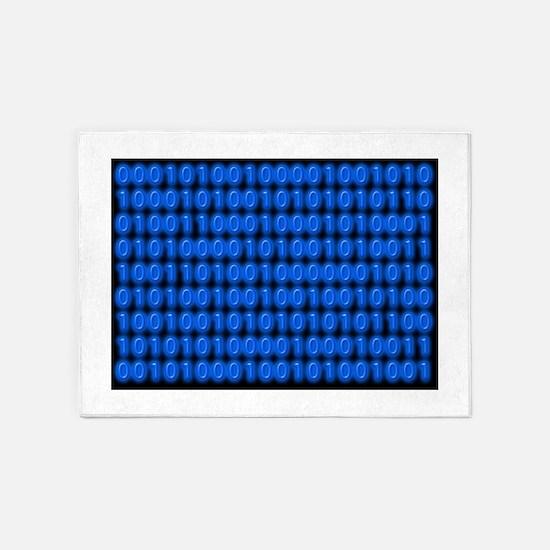 Blue Binary Code on Black 5'x7'Area Rug