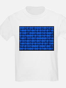 Blue Binary Code on Black T-Shirt