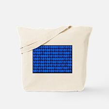 Blue Binary Code on Black Tote Bag