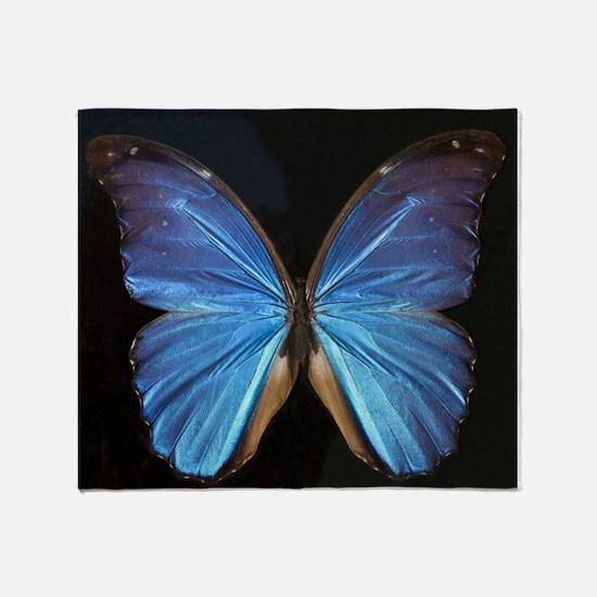 Elegant Blue Butterfly Throw Blanket