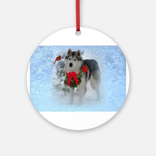 Frosty Paws Siberian Husky Ornament (Round)