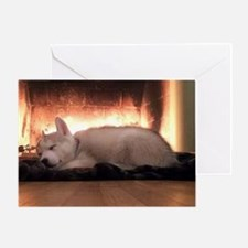 Christmas Puppy And Fireplace Greeting Cards