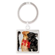 Christmas Bow Dogs!  Square Keychain