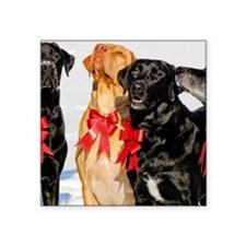 """Christmas Bow Dogs!  Square Sticker 3"""" x 3"""""""