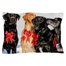 Christmas Bow Dogs!  Pillow Case