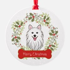 Spitz Dog Christmas Wreath Ornament