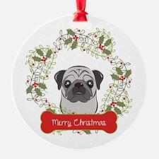 Pug Christmas Wreath Ornament