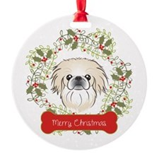 Pekingese Christmas Wreath Ornament