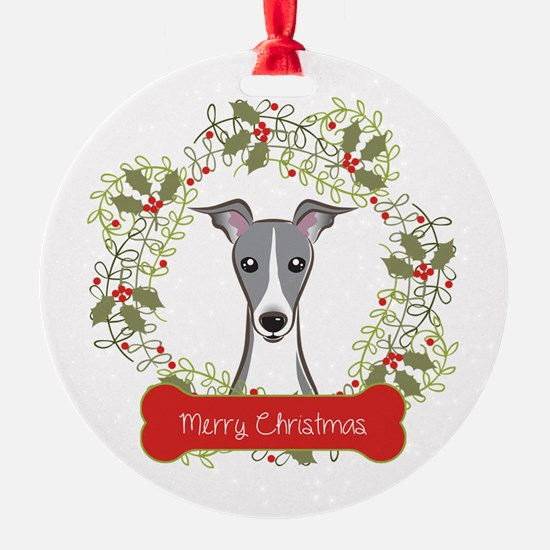 Italian Greyhound Christmas Wreath Ornament