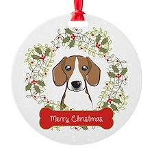 Beagle Christmas Wreath Ornament