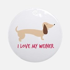 I Love My Weiner Ornament (Round)