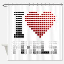 Love Pixels Shower Curtain