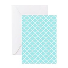 Sky Blue White Quatrefoil Pattern Greeting Card