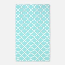 Sky Blue White Quatrefoil Pattern Area Rug