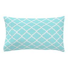 Sky Blue White Quatrefoil Pattern Pillow Case