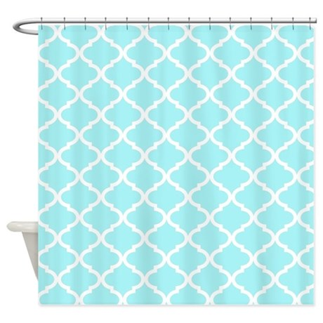 sky blue white quatrefoil pattern shower curtain by