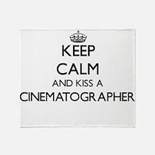 Keep calm and kiss a Cinematographer Throw Blanket