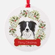 Border Collie Christmas Wreath Ornament