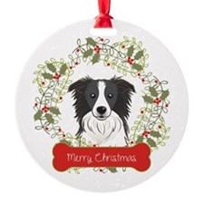 Border Collie Christmas Wreath Round Ornament