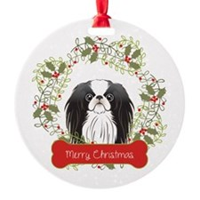 Japanese Chin Christmas Wreath Ornament