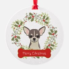 Chihuahua Christmas Wreath Ornament