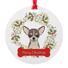 Chihuahua Christmas Wreath Round Ornament