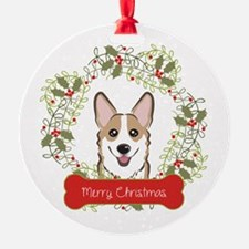 Welsh Corgi Christmas Wreath Ornament