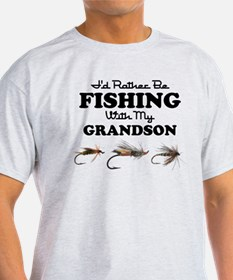 Rather Be Fishing Grandson T-Shirt
