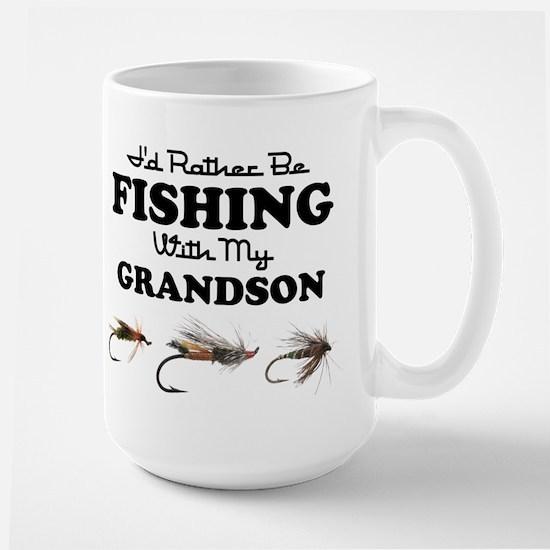 Rather Be Fishing Grandson Large Mug