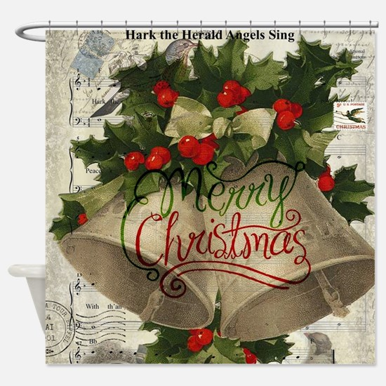 Merry Christmas vintage bells Shower Curtain