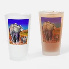 elephant mother and baby Drinking Glass