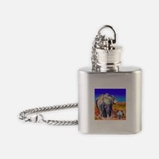 elephant mother and baby Flask Necklace