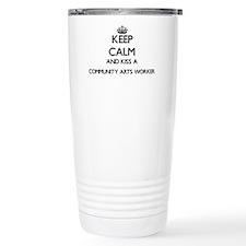 Keep calm and kiss a Co Travel Coffee Mug